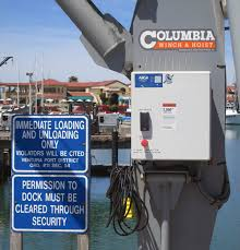 columbia stiff leg davit crane for commercial fishing pier