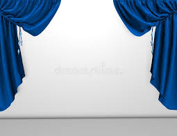 Blue Velvet Curtains Background With Blue Velvet Curtains And Empty White Wall