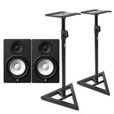 black friday studio monitors yamaha hs7 active studio monitors pair with stands at gear4music com