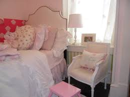 interesting pink chic bedroom decoration using curved studded