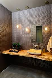 Vanity Powder Room Contemporary Powder Room With Live Edge Wood Vanity Top Picture