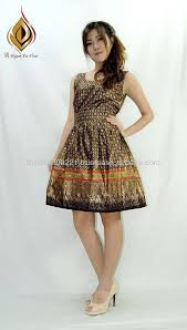 modern dress gold printed adjustabled waist modern thai dress buy thai cotton