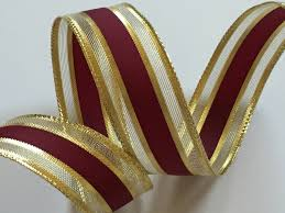 metallic gold ribbon 5yds 1 w striped gold and maroon ribbon wired edge ribbon stripe