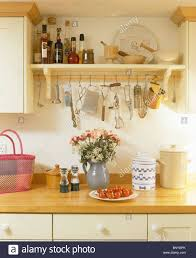 Cream Kitchen Utensil Holder Storage Jars Shelving In Kitchen Stock Photos U0026 Storage Jars