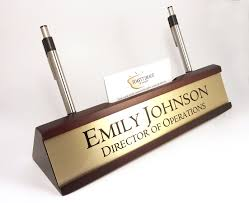 Office Desk Name Plate Personalized Desk Name Plate Nameplate Business Card And Pen For