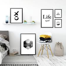 living room prints nordic black white abstract landscape letters art canvas poster