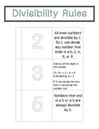 divisibility rules foldable foldables middle math