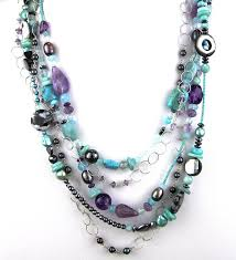 amethyst jewelry necklace images Echo of the dreamer 5 strand turquoise and amethyst necklace jpg
