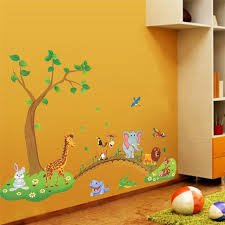 Kids Room Decoration Tree Bridge Giraffe Elephant Lion Wall Stickers For Kids Room