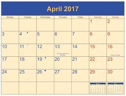 Printable Halloween Calendar April 2017 Printable Calendar Templates