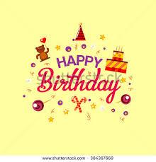 happy birthday card doodle hand drawn stock vector 281320610