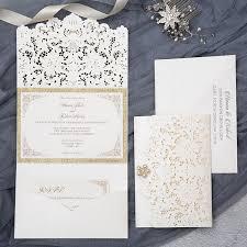 pocket wedding invites formal ivory and gold glittery pocket wedding invitations