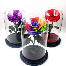 aliexpress com buy big size glass cover fresh preserved rose