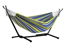 afranker double hammock with space saving steel stand