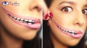 half halloween makeup stretched lips halloween makeup tutorial by eyedolize makeup youtube