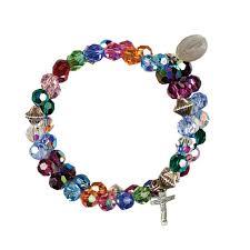 bracelet rosary multi color swarovski wrap rosary bracelet ss charms leaflet missal