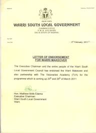 our endorsement letter from the warri south government warri