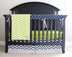 Grey And Green Crib Bedding Custom Crib Bedding Lime Green Chevron Navy Blue And Grey