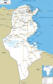 tunisia on africa map detailed clear large road map of tunisia ezilon maps