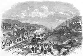 wales 1863 neath opening new railway train old vintage print