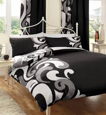 Cream Bedding And Curtains Cream Wooden Bedside Table Black Curtain Brown Wooden Floor Cream