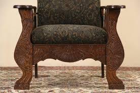 sold morris chair 1900 antique oak adjustable recliner green