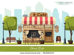 outdoor cafe illustration download free vector art stock