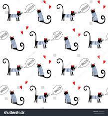 french style cats saying bonjour seamless stock vector 392093914