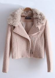 light pink wool coat light pink zipper fur lapel wool coat outerwears tops
