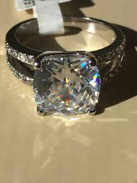 2 5 Cushion Cut Diamond Engagement Ring A Perfect 3 9ct Cushion Cut Solitaire Russian Lab Diamond Split