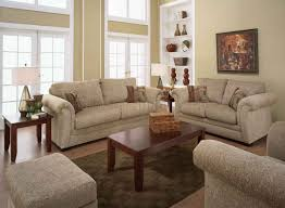 Sand Fabric Casual Living Room Sofa  Loveseat Set WRolled Arms - Casual living room chairs