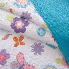 girls lilac bedding blue pink butterfly u0026 ladybug spring floral girls bedding twin or