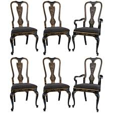 set of six drexel heritage black laquered chinoiserie dining