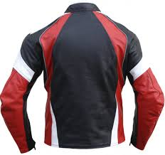 red leather motorcycle jacket leather motorcycle motorbike cowhide combi jacket black red white