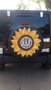 jeep life tire cover sunflowers monogrammed personalized made to order gift for her