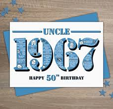 happy 50th birthday uncle greetings card year folksy
