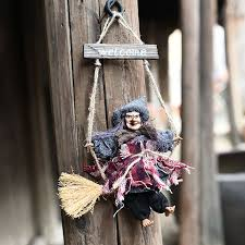 retro witch ornaments broom ghost hang up props