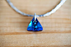 blue stainless steel necklace images Brilliant blue tri crystal and stainless steel necklace