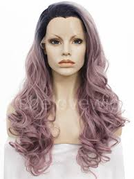 black at root of hair black root light purple synthetic lace front wig