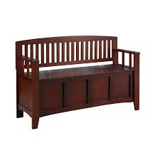 linon cynthia storage bench walnut 18 inch seat height walmart com