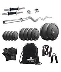 headly 16 kg home gym 14 inch dumbbells curl rod gym backpack
