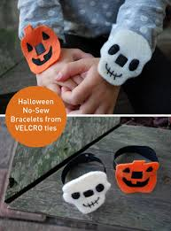 easy halloween no sew bracelets pumpkins and skulls merriment