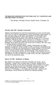 Health Information Management Resume Information Dissemination 100 Years Ago W C Roentgen And The