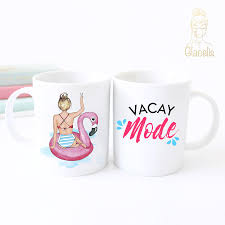 personalized unique coffee mug vacay mode at glacelis