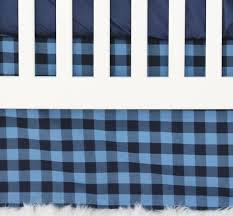 brice u0027s navy buffalo check bumperless crib bedding caden lane