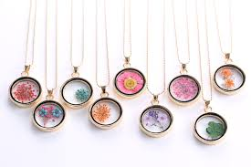 trendy flower necklace images Liebe engel trendy necklace dried flower glass pendant necklace jpg