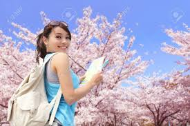 Cherry Blossom Map Happy Travel Woman Look Map And Smile With Sakura Cherry Blossoms
