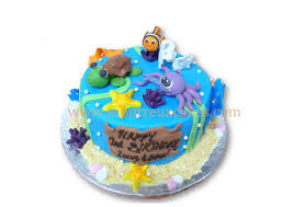 1 tier under the sea theme 001 min 2 0kg montreux cakes