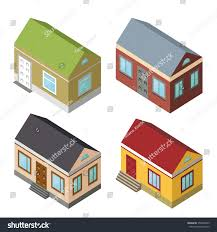 American Small House Isometric Housemodern 3d Stylevector Illustrationisomatic