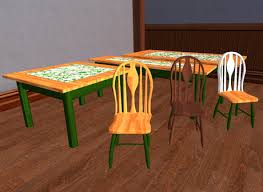 Second Life Marketplace Kitchen Table And Chairs Green Tiled - Green kitchen table